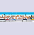 cars driving road over winter city street merry vector image vector image