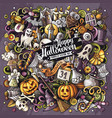 cartoon doodles happy halloween vector image vector image