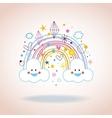 cartoon rainbow clouds hearts diamonds vector image vector image