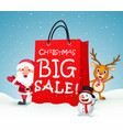 christmas big sale with santa and friends vector image vector image