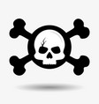 cracked skull and crossed bones icon pirates vector image vector image