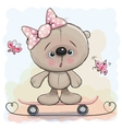 Cute Bear Girl with skateboard vector image