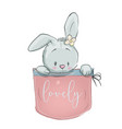 cute cartoon hare vector image vector image