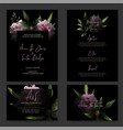 dark wedding invitation kit black background vector image