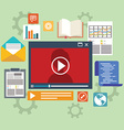 E-learning concept in flat style - digital content vector image vector image