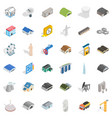 engineering icons set isometric style vector image vector image