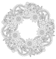 floral doodles wreath in entangle style circle vector image vector image