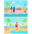 girl with surfboard and guy in inflatable ring vector image vector image