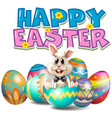 happy easter with bunny in egg vector image vector image
