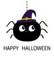 happy halloween black spider silhouette hanging vector image