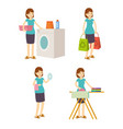 housewife mother washes iron shopping and cleaning vector image vector image