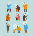 men fishing in a frozen river or lake in winter vector image