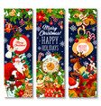 merry christmas holiday greeting banners vector image vector image