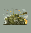 military tank in fire vector image