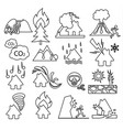 natural disaster icon set outline vector image