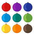nine multi colored christmas balls vector image vector image