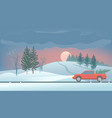 pickup with christmas treewinter landscape fir vector image vector image