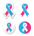 Pink and blue ribbon - pregnancy and infant loss vector image vector image