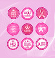 pink ribbon breast cancer awareness icons set vector image vector image