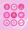 pink ribbon breast cancer awareness icons set vector image vector image