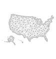 polygonal wire frame mesh map of usa vector image