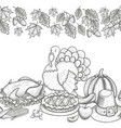 seamless horizontal border with thanksgiving icons vector image vector image