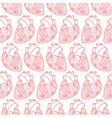 Seamless pattern made of anatomic hearts vector image vector image