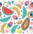 seamless pattern with fruit and ice cream vector image