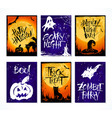 set of 6 halloween card vector image