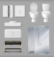 shower cabin toilet bowl and sink for bathroom vector image