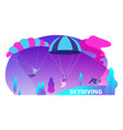 skydiving background with cartoon jumpers vector image vector image