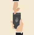 Smart phone with Finger print scanner app vector image
