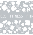 Sports seamless pattern with fitness icons in flat vector image