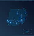 sudan map with cities luminous dots - neon lights vector image vector image
