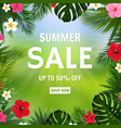 summer sale poster bokeh and tropical flowers vector image vector image