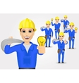 technical electrician or mechanic in poses vector image vector image