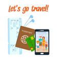 traveling abroad poster with lettering vector image vector image