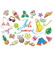 tropical beach vacation sketch elements vector image vector image