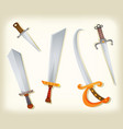 vintage swords knifes broadsword and saber set vector image