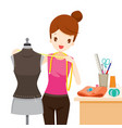 woman measuring mannequin body shape vector image vector image