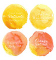 yellow watercolor circle set on white background vector image vector image