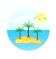 sea wave with palm tree and sun vector image