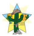 cowboy cactus with hat and revolver cartoon vector image