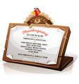 turkey holding thanksgiving dinner menu vector image