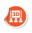 3d cinema icon orange sticker vector image vector image