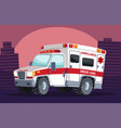 ambulance monster truck with large wheels city vector image