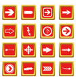 arrow icons set red vector image vector image