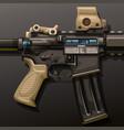 assault rifle lying on dark vector image vector image