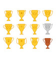 award trophy cup icons vector image vector image