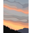 Background gray orange sky at sunset vector image